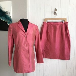 Two piece iridescent pink suit